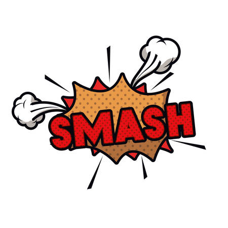 smash comic words in speech bubble isolated icon vector illustration design Ilustração