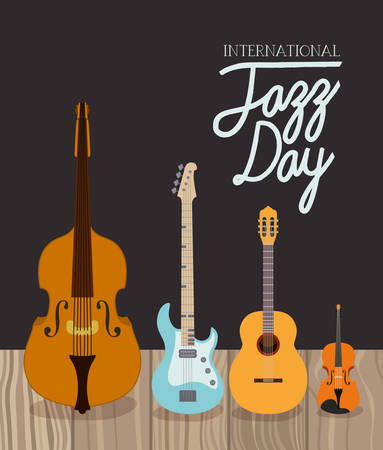 jazz day poster with string instruments vector illustration design