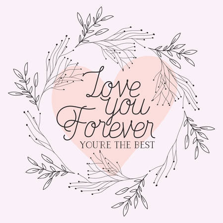 love card with herbs drawn frame vector illustration design Stock Illustratie