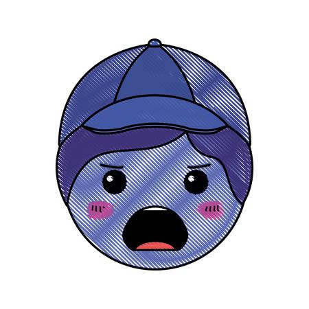cartoon man angry head kawaii character vector illustration design Ilustração