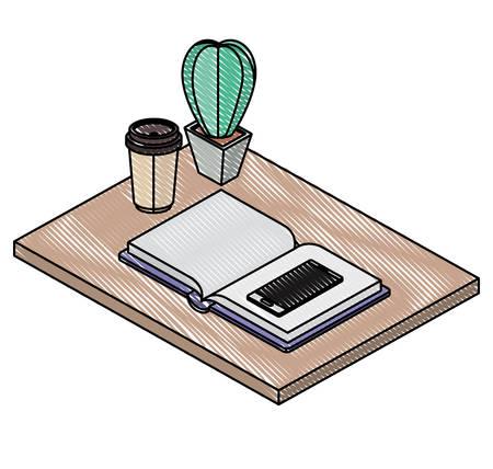 work place scene isometric icons vector illustration design