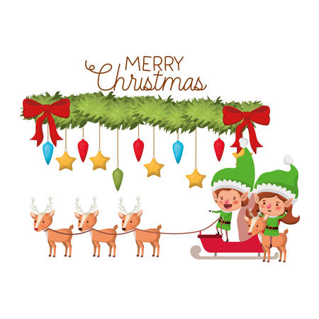 elves couple with reindeer and merry christmas time vector illustration design