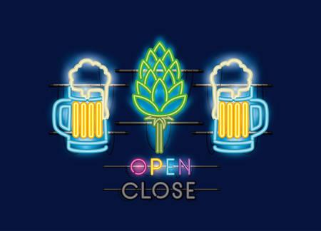 Jarras de cerveza y picos de luces de neón, diseño de ilustraciones vectoriales Ilustración de vector