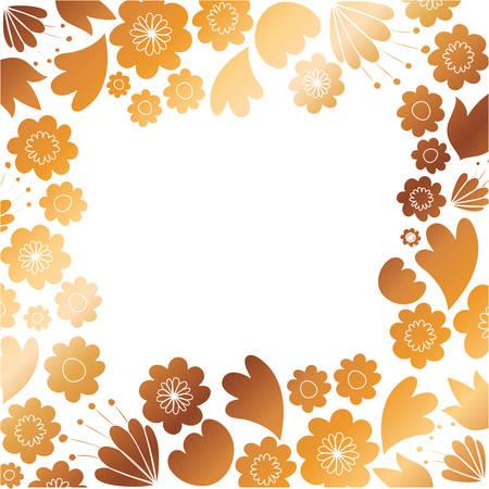 frame with flowers and leafs golden vector illustration design Illustration