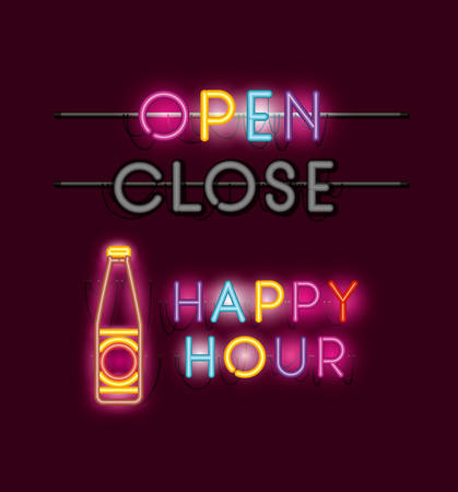 happy hour with beer bottle fonts neon lights vector illustration design