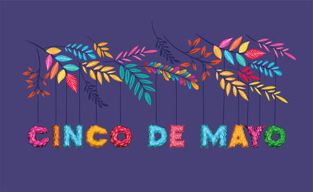 cinco de mayo card with floral decoration vector illustration design Ilustrace