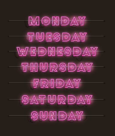 week days set fonts neon lights vector illustration design