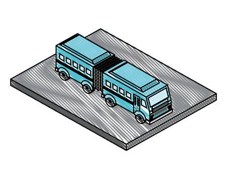 articulated bus transport isometric icon vector illustration design Illustration