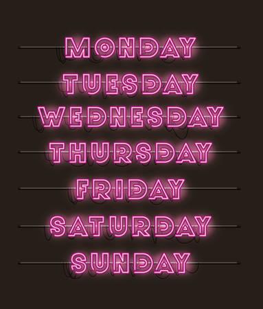 week days set fonts neon lights vector illustration design