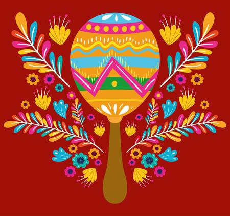 cinco de mayo card with flowers and maracas vector illustration design Vettoriali