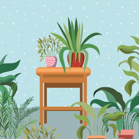 houseplants in wooden chair garden scene vector illustration design Standard-Bild - 122929994