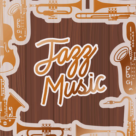jazz day poste with instruments and wooden backgroundvector illustration design