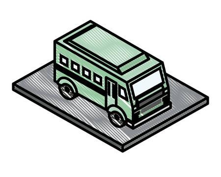 bus transport isometric icon vector illustration design