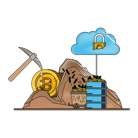 bitcoin commerce technology set icons vector illustration design Ilustração