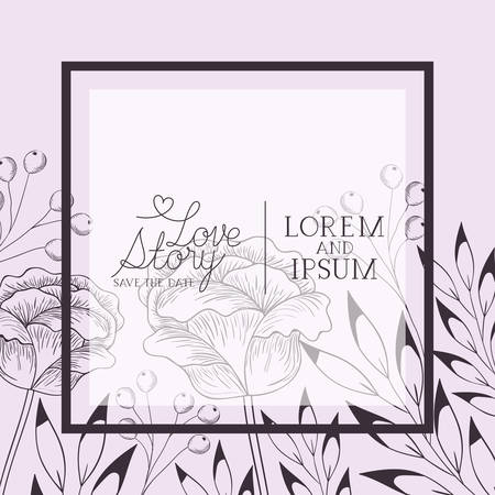 flowers drawn and calligraphy decorative square frame vector illustration design