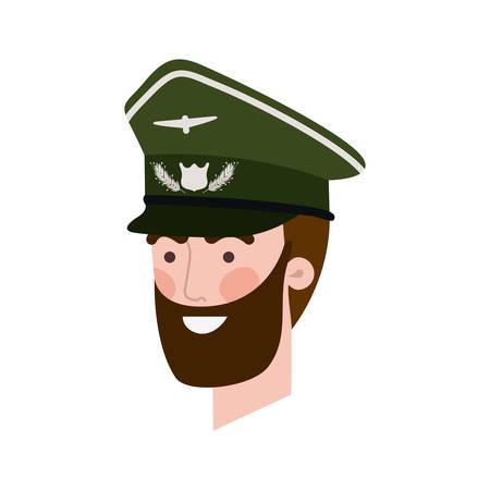 head of man pilot avatar character vector illustration design