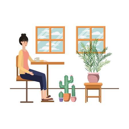 woman drinking coffee in the living room vector illustration design 일러스트