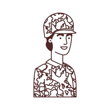 Hombre soldado de guerra avatar ilustración Vectorial character design Ilustración de vector