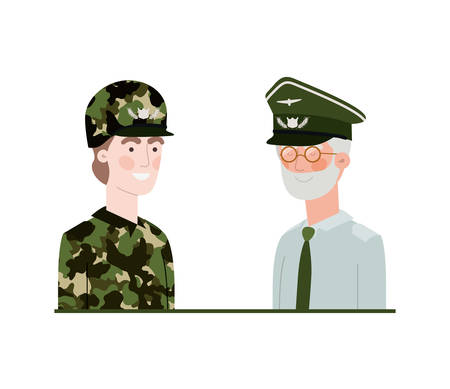 men soldiers of war avatar character vector illustration design Illusztráció