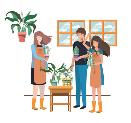 group of people with houseplant avatar character vector illustration design