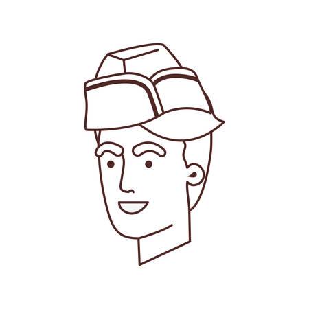 head of man soldier of war avatar character vector illustration design