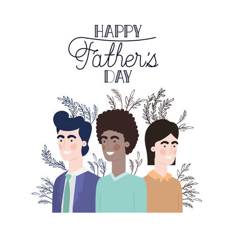 happy father day label with men icon vector illustration design
