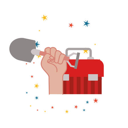 hand with construction tool box icon vector illustration design Imagens - 122849909