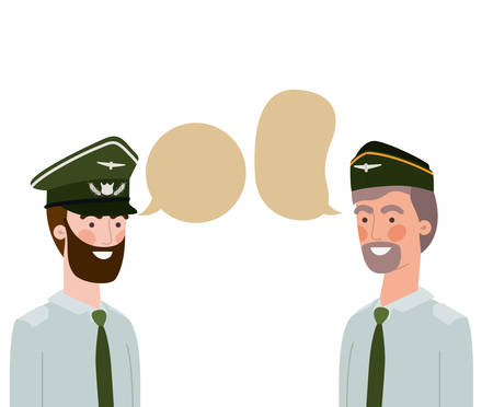 men soldiers of war with speech bubble vector illustration design
