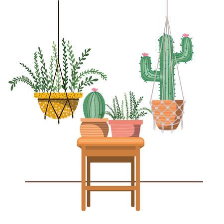 houseplants on macrame hangers and table vector illustration design Standard-Bild - 122850012