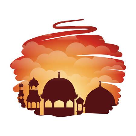 ramadan kareem mosque building with landscape vector illustration design