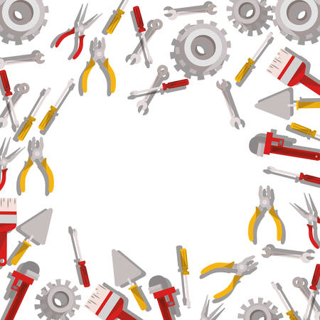 construction tools pattern isolated icon vector illustration design Stock Vector - 122850161