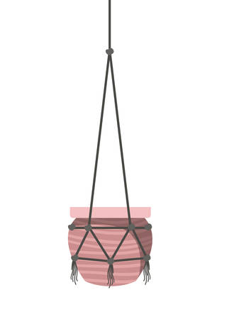 flowerpot on macrame hangers icon vector illustration design Imagens - 122850298