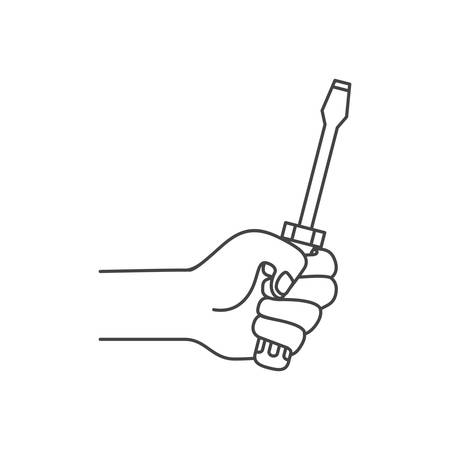 hand with screwdriver tool isolated icon vector illustration design Ilustração