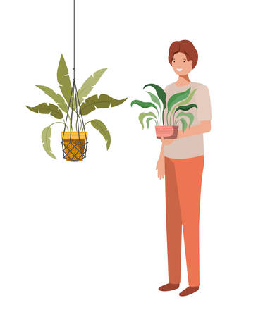 man with houseplant in macrame hangers vector illustration design