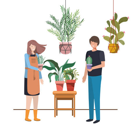 couple with houseplant on macrame hangers vector illustration design 向量圖像