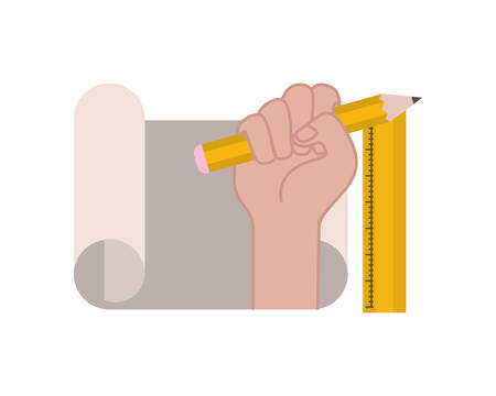 hand with construction plan isolated icon vector illustration design Illusztráció