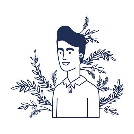young man with branch with leaf character vector illustration design Ilustração