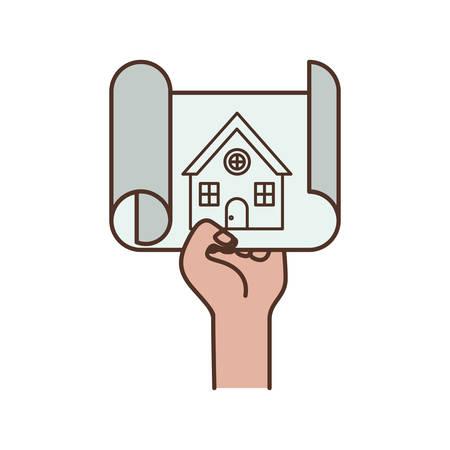 Hand mit Bauplan isoliert Symbol Vektor Illustration Design