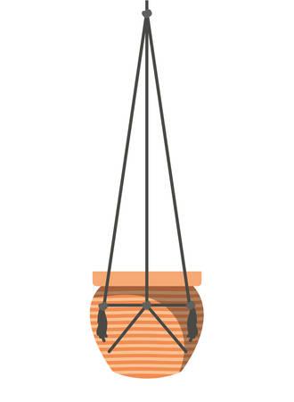 flowerpot on macrame hangers icon vector illustration design Ilustração