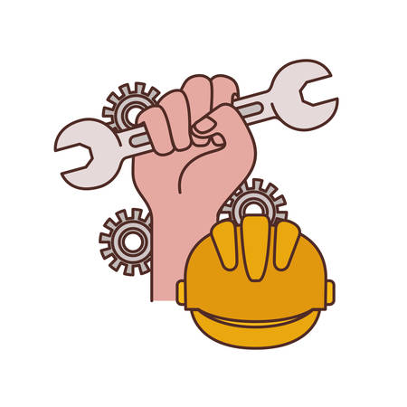 hand with wrench tool isolated icon vector illustration design Ilustração