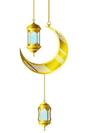 ramadan kareem lantern and moon hanging vector illustration design Imagens - 121657887