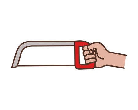 hand with saw tool isolated icon vector illustration design Illustration