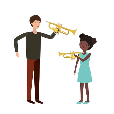 man with daughter and trumpet character vector illustration design