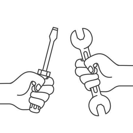 hand with screwdriver and wrench isolated icon vector illustration design