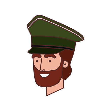 head of man soldier of war avatar character vector illustration design