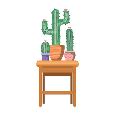 cactus with potted on the table icon vector illustration design