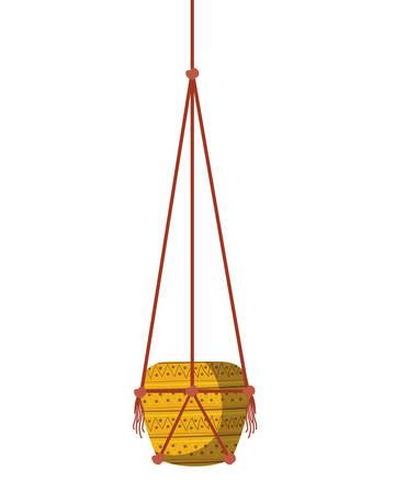 flowerpot on macrame hangers icon vector illustration design Imagens - 122852463