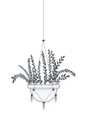 pianta d'appartamento su grucce macramè icona illustrazione vettoriale design Vettoriali