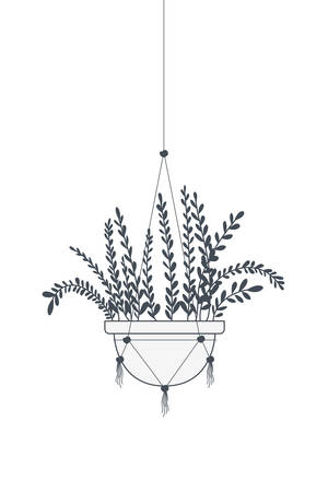 houseplant on macrame hangers icon vector illustration design