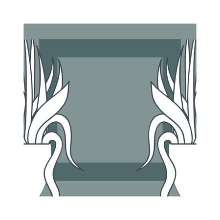 houseplants on macrame hangers and frame vector illustration design